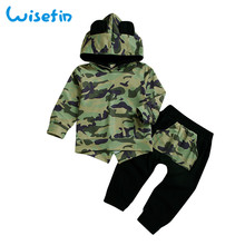 Wisefin Newborn Boy Clothes Set Autumn Winter Camouflage Baby Clothing For Camo Long Sleeve bokep Outfits Hoodie + Pant