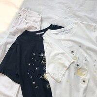 Солнце Луна звезды вышивка Для женщин футболка таинственный Романтический Для женщин летний легкий тонкий с круглым вырезом футболка с кор...