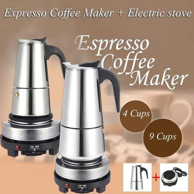 200/450ml portátil máquina de café expresso moka pote aço inoxidável com fogão elétrico filtro percolador cafeteira chaleira pote