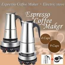 Cafetera portátil Espresso de 200/450ml, olla Moka de acero inoxidable con filtro de estufa eléctrica, percolador, cafetera, hervidor de agua