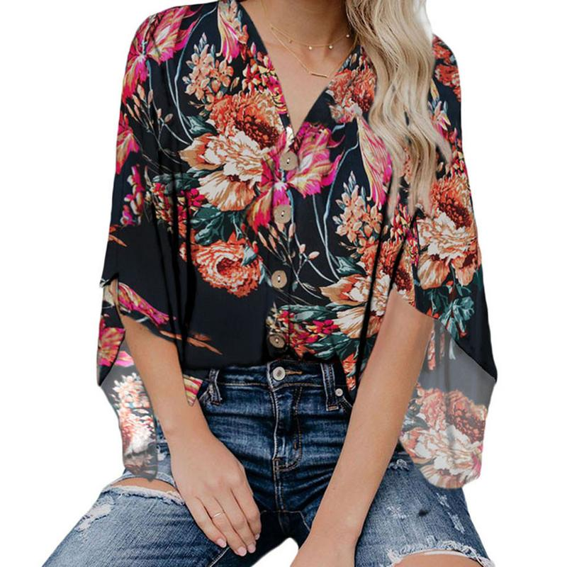 V-Neck Floral Print Kimono Top Women Button Down Loose Shirts S-XXL Fashion Casual