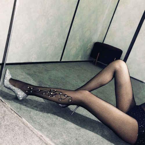 b2189b591 ... Women Sexy Sparkle Glitter Rhinestone Pantyhose Tights Mesh Fishnet  Diamond Stockings Bling Hosiery ...