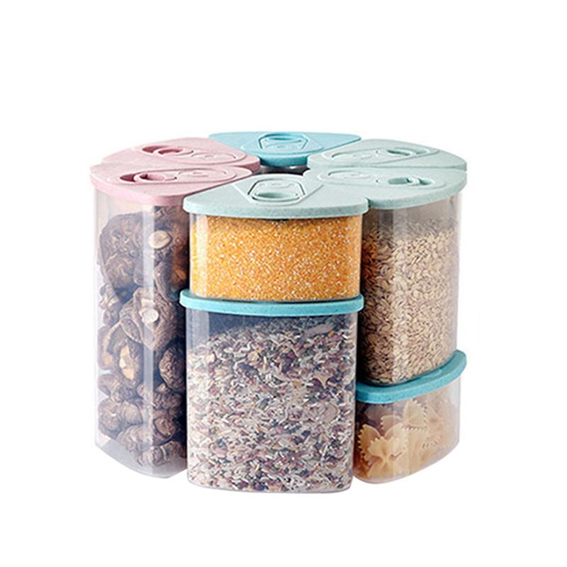 Wheat Straw Sealed Canister Plastic Food Storage Container With Lid For Dry Fruits Grain Spice Snacks (1000ML, Random Color)