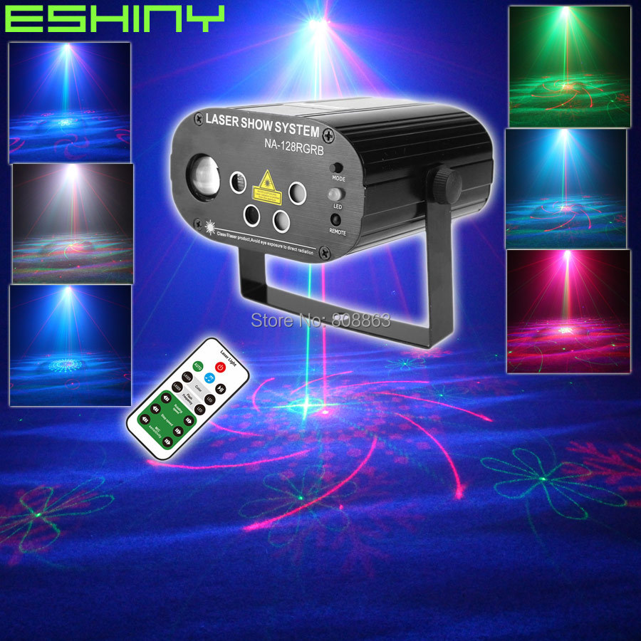 ESHINY Remote R G 5 Lens Laser 128 Patterns Projector RGB Led Party Bar DJ Holiday