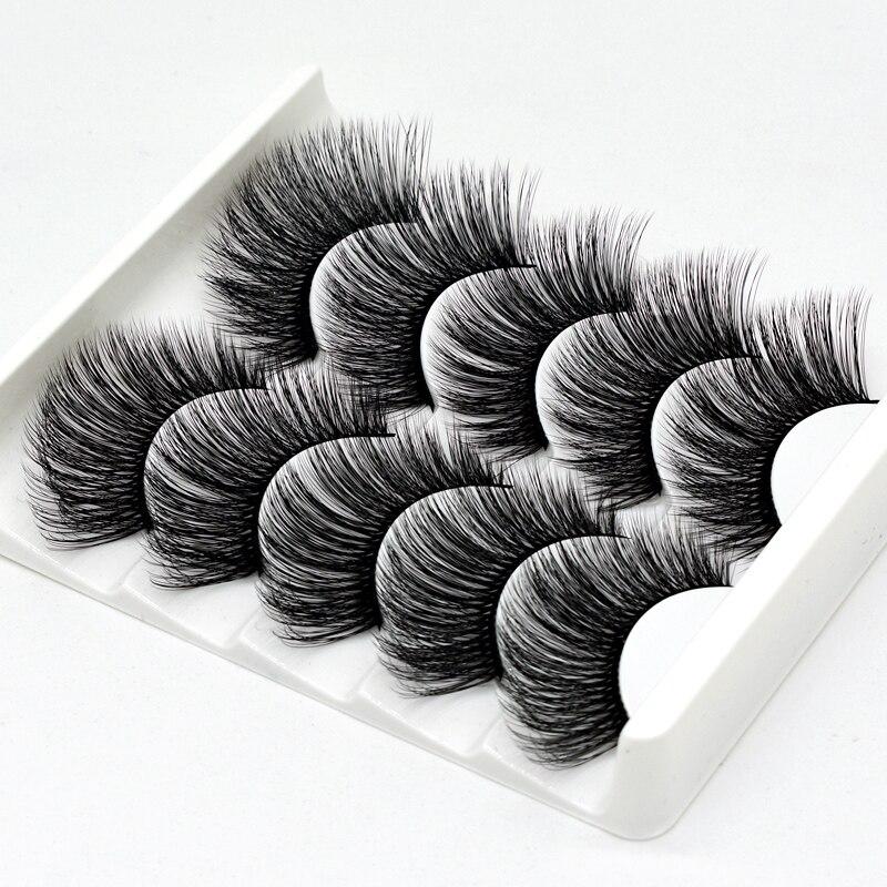 SEXYSHEEP 5Pairs 3D Mink Hair False Eyelashes Natural/Thick Long EyeLashes Wispy Makeup Lashes Beauty Extension Tools