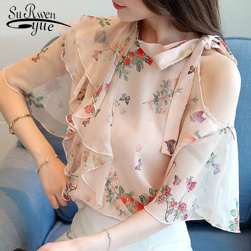 HLB1rwoXlDZmx1VjSZFGq6yx2XXa6 new 2018 summer short sleeve women's clothing fashion plus size 5XL Chiffon women blouse Shirt loose woemn's tops blusas 60A 30
