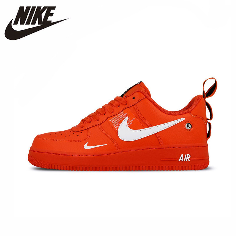 Nike Air Force 1 Original recién llegado zapatos de skate rojo brillante para hombre zapatillas de deporte para exterior # AJ7747-800