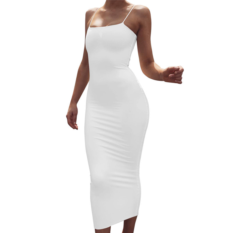 Women Dress Strapless Sexy Slim Solid Long Dress Camis Strap White Black Red Fashion Dress in Dresses from Women 39 s Clothing