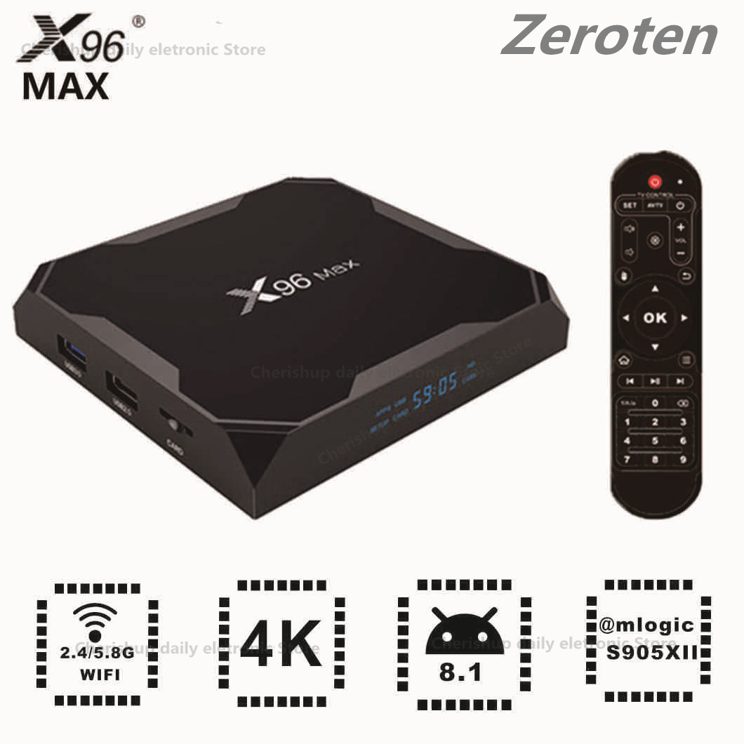 Zeroten X96 MAX Android 8.1 TV Box S905XII 4K Set-Top Box 2GB  4GB RAM 16GB32GB64GB ROM 1000Mbps BT4.0 Smart Media Player
