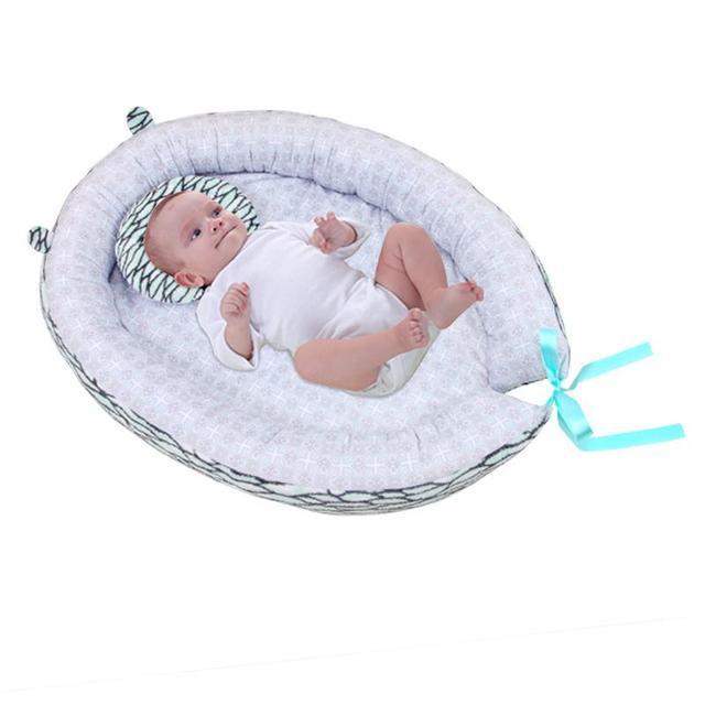 Cuna de algodón de cama de nido de bebé portátil con estampado de unicornio