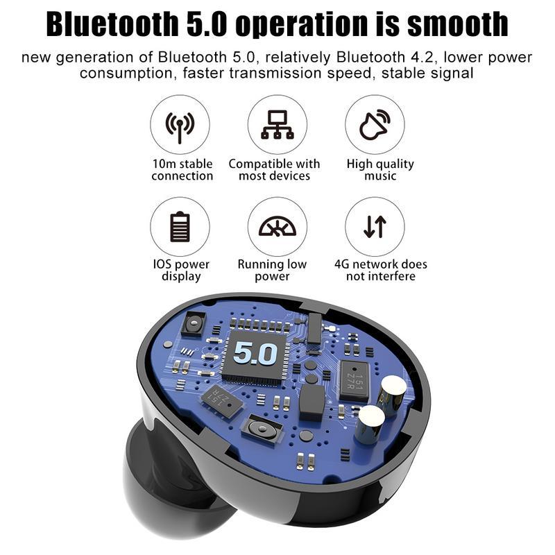 Sans fil Bluetooth 5.0 Smart Touch TWS casque écouteurs haute qualité stéréo réduction du bruit affichage numérique sport écouteurs - 4