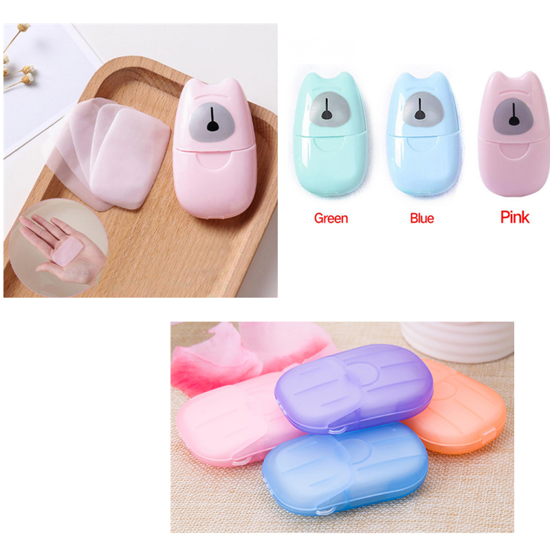 50/20Pcs Disposable Mini Soap Paper Washing Hand Supplies Bath Travel Foaming Box Skin Care Soaps Outdoor Portable TSLM1
