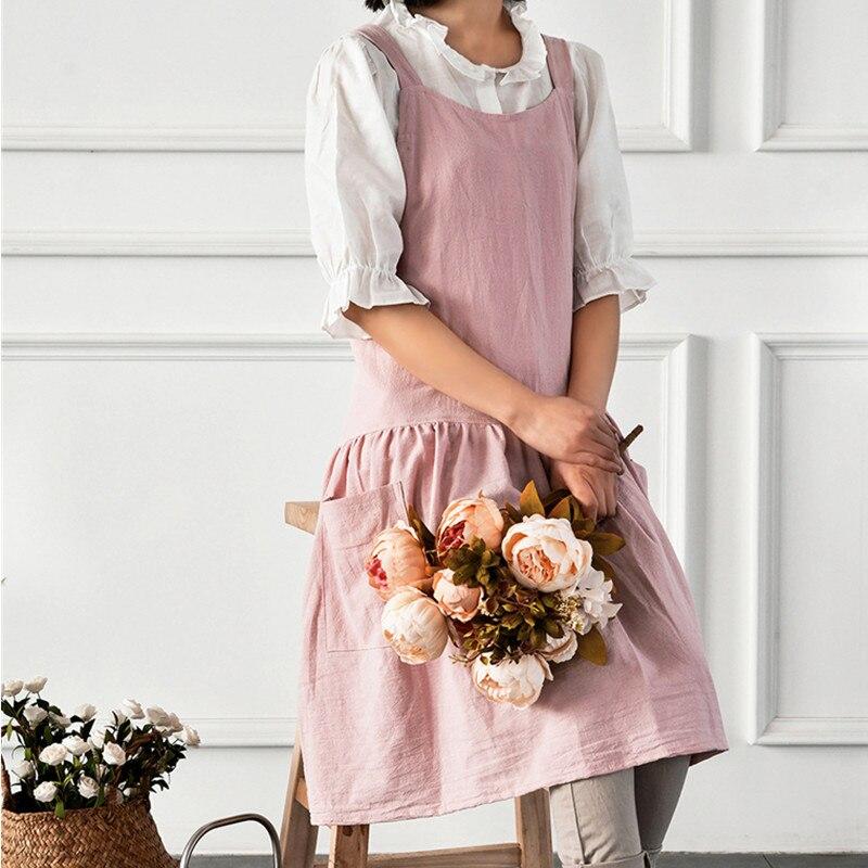 Image 4 - Red Pink Yellow Cotton Linen Apron Florist Artist Painter Craft Work Wear Waitress Barista Pastry Catering Event Uniform D88Aprons   -