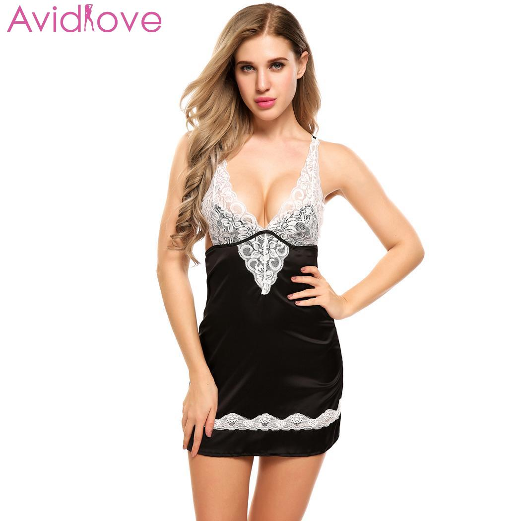 Avidlove Plus Size Women Sleepwear Nightgown Sexy Lingerie Dress Cotton Night Dress Lace Satin Babydoll Chemise Sleepwear|Babydolls & Chemises| | - AliExpress