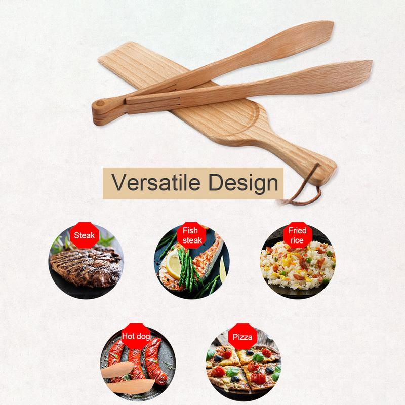 BBQ Clip Shovel Two-piece Beech Grilled Fish Pizza Barbecue Steak Clip Shovel Kitchen Outdoor Baking Tool Set Easy Use