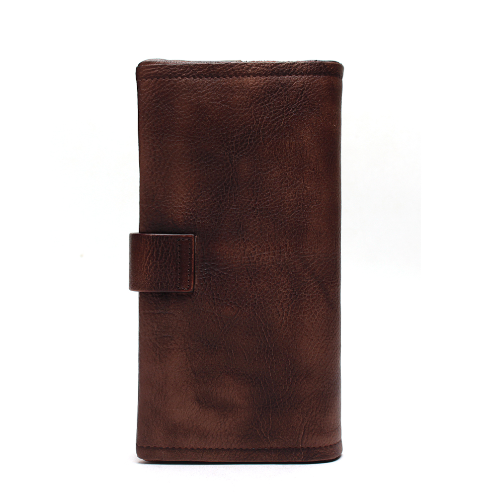 Vintage Designer Hand Painting Color Female Removable Card Wallet Genuine Leather Women 39 s Metal Hasp Long Organizer Wallet in Wallets from Luggage amp Bags