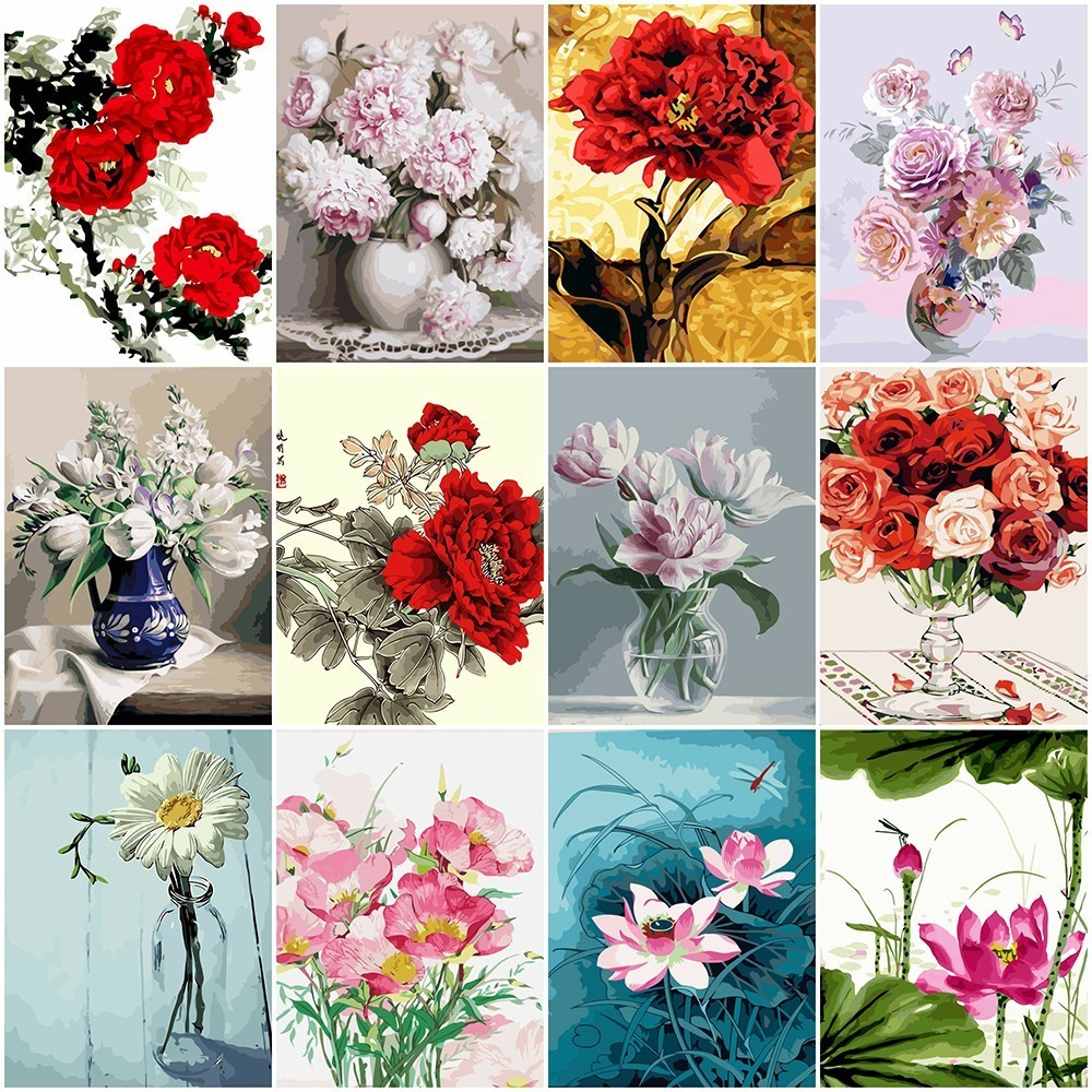 AZQSD Oil Painting By Numbers Flower Modern DIY Hand Painted Canvas Wall Picture Art Floral Home Decoration YHGC040