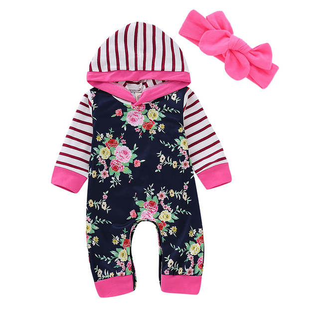 2eb442441558 Newborn Baby Boy Girl Romper Overalls Autumn Hooded Jumpsuit Outfits ...