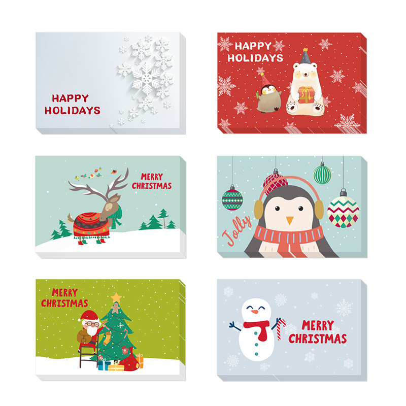 48pcs 10x15cm Creative Christmas Cards Place Gift Cards Invitations Thank You Greeting Card with Envelopes Party Decoration image