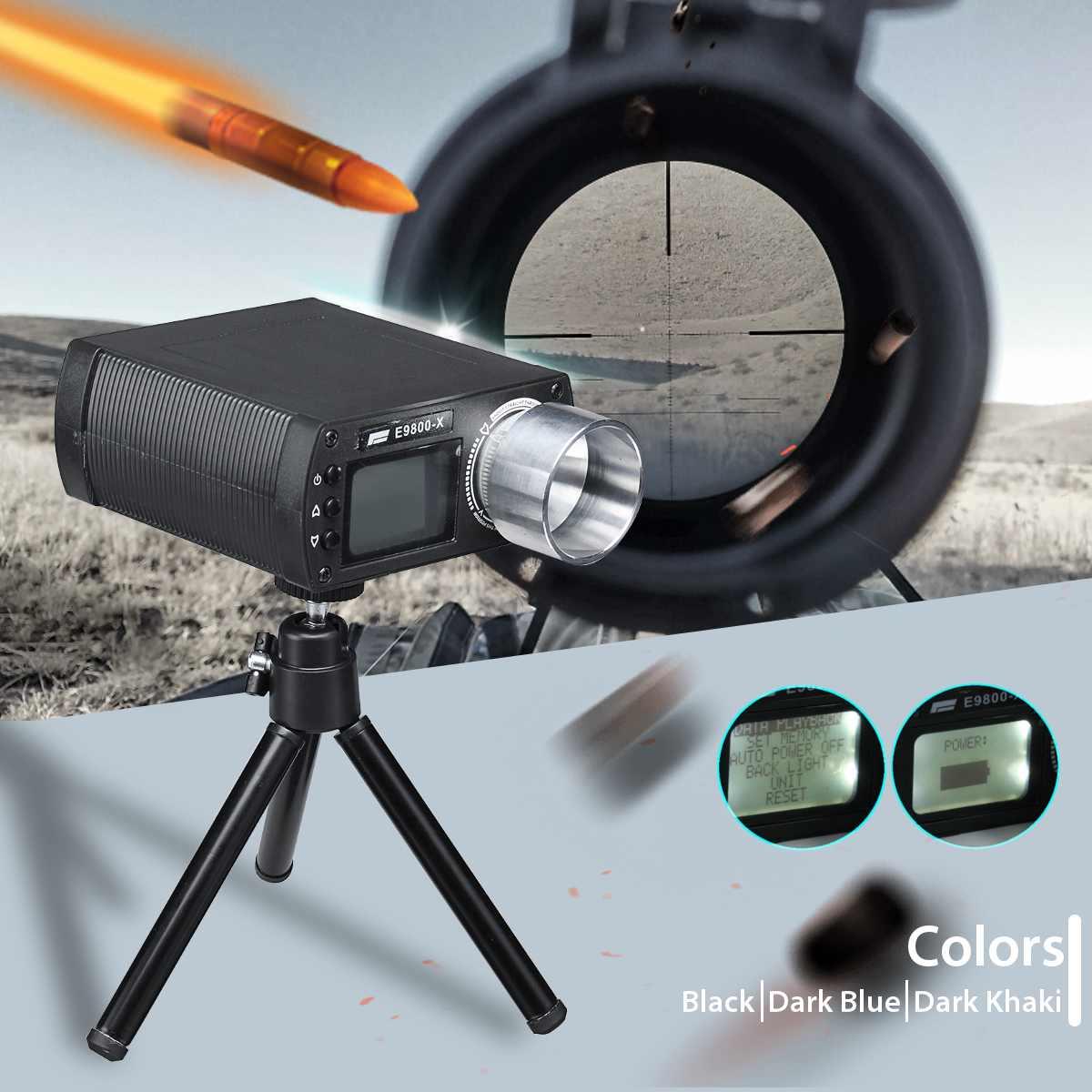 E9800-X Airsoft BB testeur de vitesse de prise de vue haute précision chronographe de prise de vue-10C à 50C écran LCD 0-500J tir-énergie cinétique