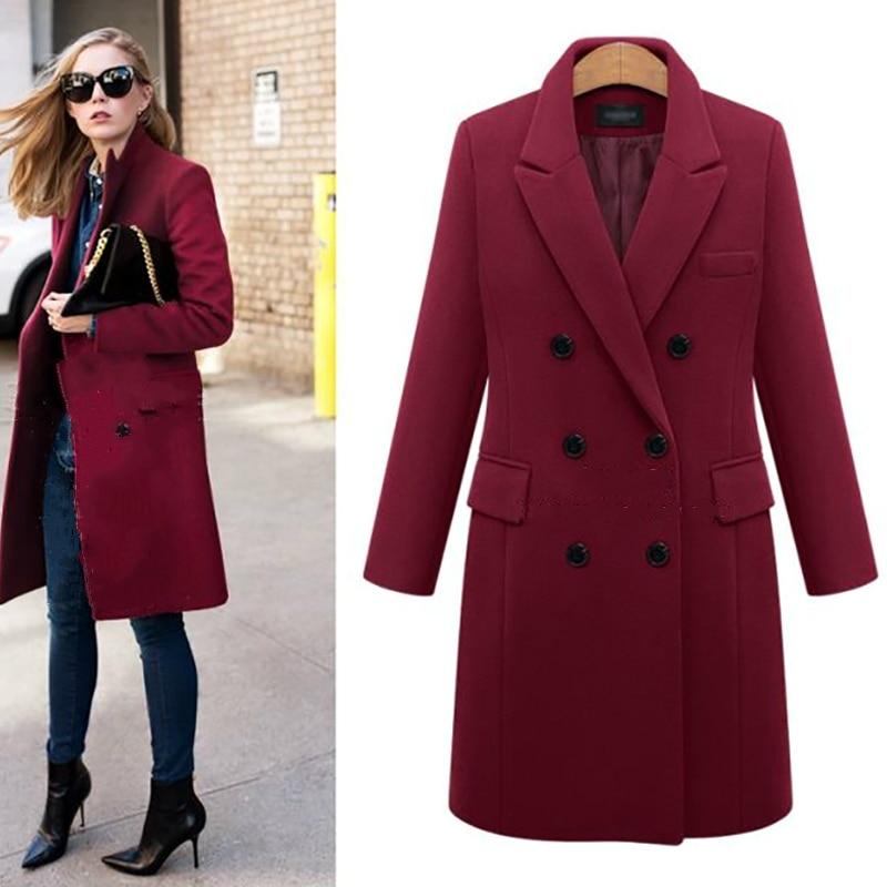 2019 Autumn Winter Suit Blazer Women Formal Wool Blends Jacket Coat Work Office Lady Long Sleeve Suits Blazer Plus Size 8446