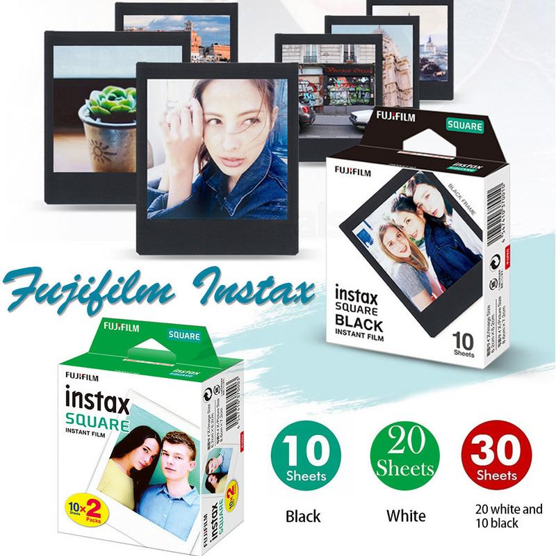 10-30 folhas fujifilm instax mini filme quadrado branco/preto borda foto papel para câmera instax sq10 sq6 sq20 share SP-3 impressora
