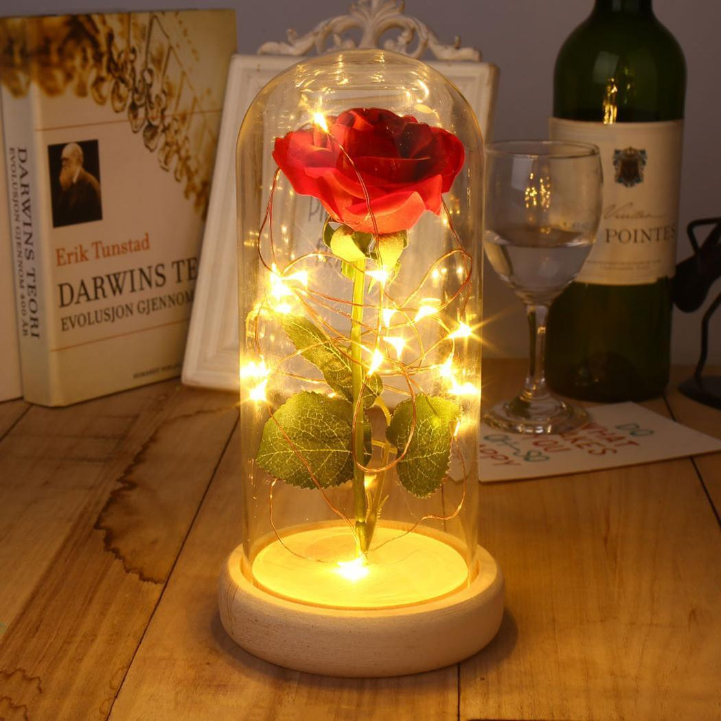 Pink Rose Enchanted Red Silk Rose and LED Lightin Glass ON OFF Dome on a Wooden