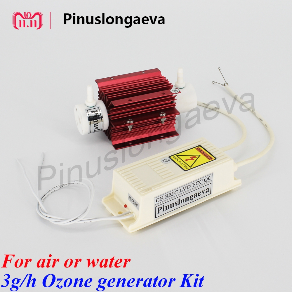Pinuslongaeva 3g/h 3grams Quartz tube type ozone generator Kit kitchen ozonizer ozone 3g oil ozonator AC220V AC110V DC12V DC24V pinuslongaeva ce emc lvd fcc 3g h quartz tube type ozone generator kit ozone fruit and vegetable washer