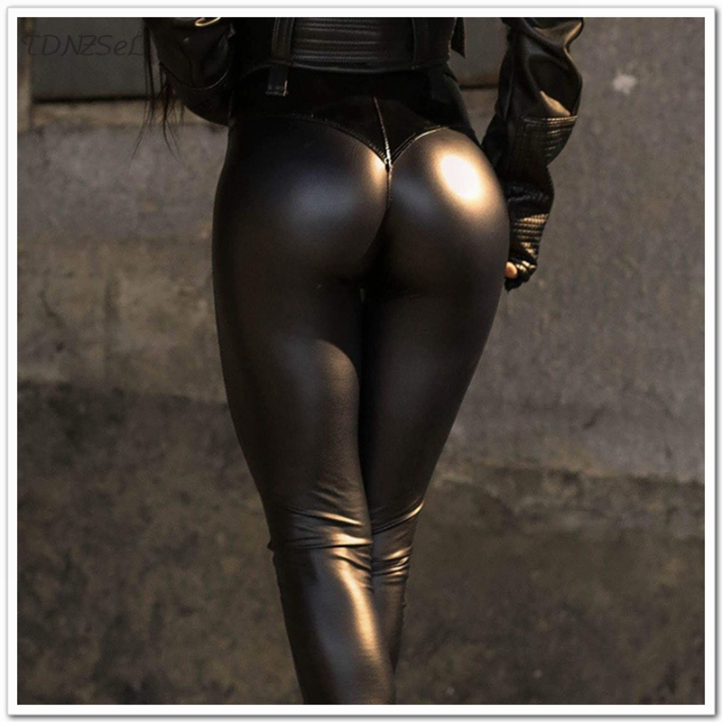 Women PU Faux Leather Package Hip Skinny Pencil   Pants   Sexy High Waist Slim Bodycon Leggings Trousers Club Stretchy PVC   Capris