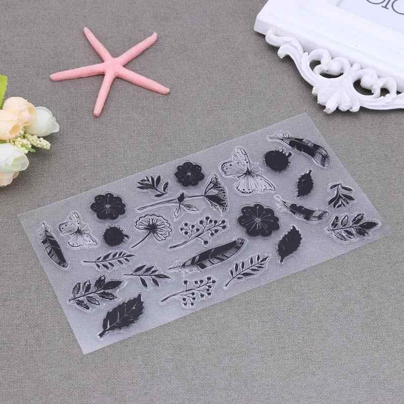 زهرة ورقة شفافة سيليكون الأختام طوابع لسكرابوكينغ DIY ختم ألبوم تزيين يوميات كتاب ورقة بطاقة ديكور هدية