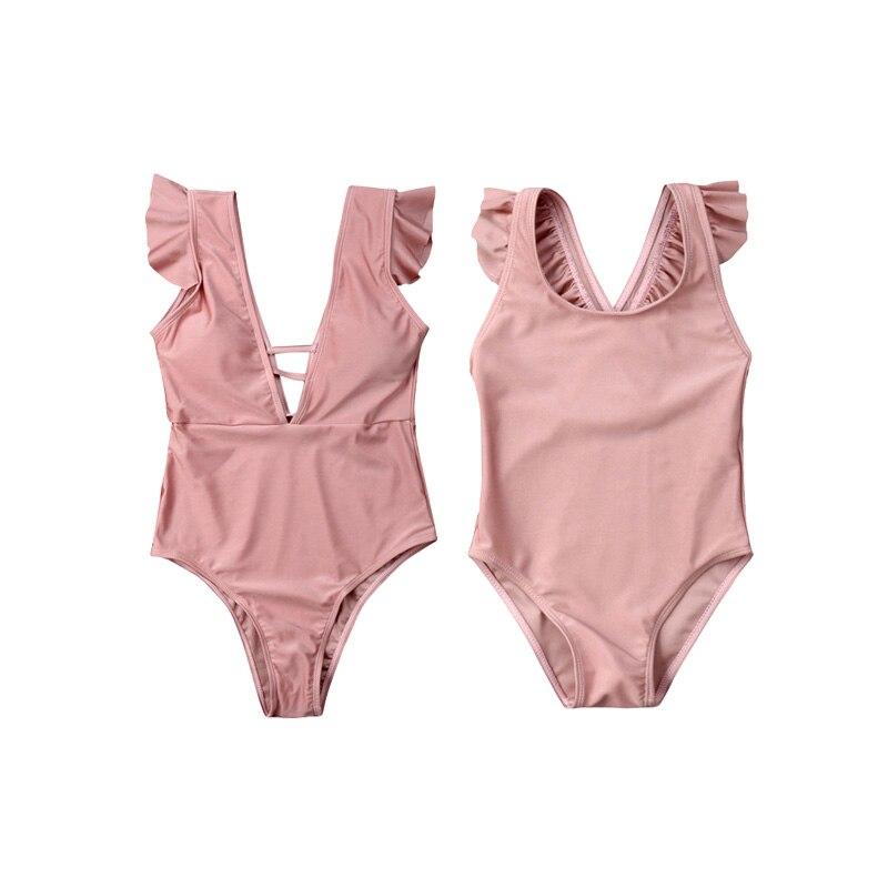 Bambino Costumi Da Bagno Rosa Increspato Genitore Costume Da Bagno Bambino Di Corrispondenza Vestito Di Madre Figlia Bikini Set Famiglia Di Estate Costumi Da Bagno 3-7year
