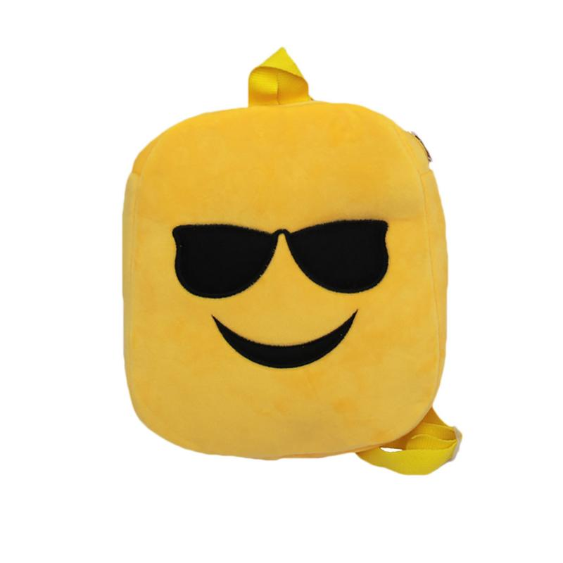 ISHINE Girls Bag Cute 7 Kinds QQ Expressions Cartoon Backpack For Children Handy Plush Doll Kindergarten Bag Yellow Shoulder Bag