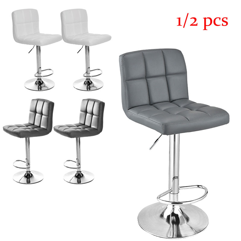 Panana Modern Faux Leather Bar Chair Chrome Base Home Kitchen Office Coffee Room Chair 1/2 Pcs Swivel Chairs
