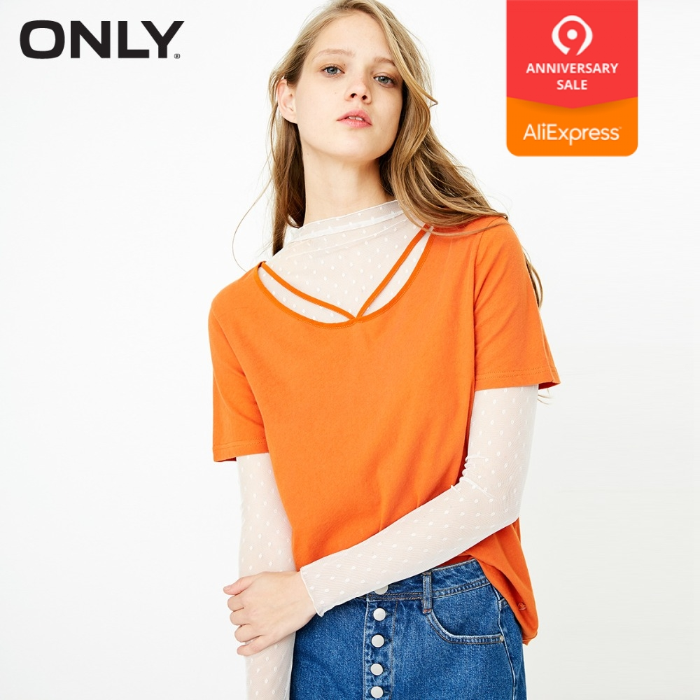 NUR 100% baumwolle tie-up lose reine farbe T shirt tops sommer casual | 118101571