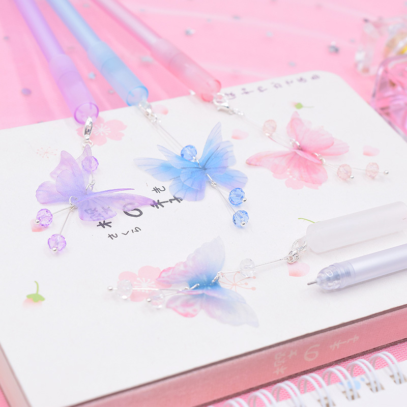 1PC Kawaii Crystal Gel Pens Cute Butterfly Pens Pendant Neutral Pens For Kids Gift School Office Supplies Stationery