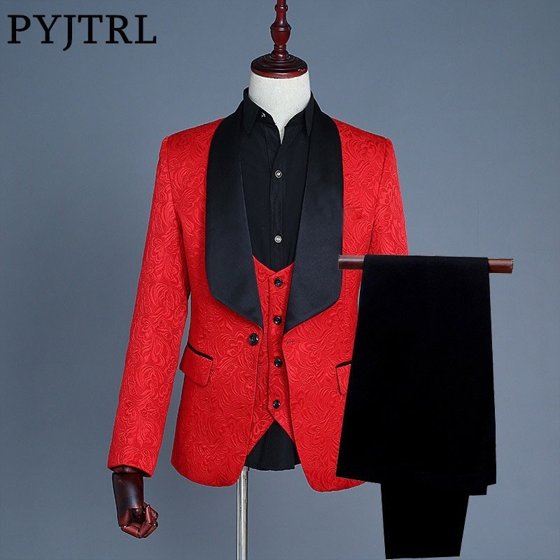 PYJTRL Brand 2018 Three Piece Suit Slim Fit Men Shawl Lapel Red Jacquard Wedding Groom Suits Prom Suits Mens Jacket Vest Pants