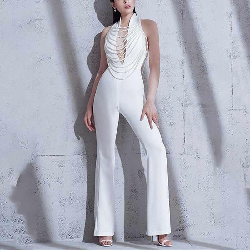 TWOTWINSTYLE, сексуальный женский комбинезон с открытыми плечами и открытой спиной, с v-образным вырезом, с высокой талией, с бисером, тонкие женские штаны, весна 2019, модный стиль