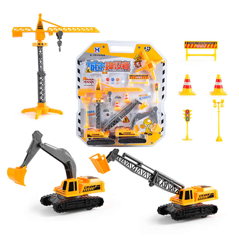 Forklift 8 Only Mixed Warrior Engineering Vehicle Children Excavator Pull Back Car Set Toys Crane Toys Set
