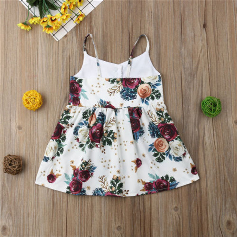30f63b5dda0e0 Princess Baby Girls Clothes Summer Newborn Infant Dress Cotton Flower Print  Button Sleeveless Toddler Dresses Sundress