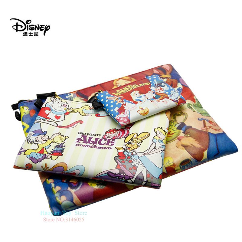 Genuine Disney Alice's Adventures In Wonderland 3pcs/set New Multi-function Wallet Purse Bags Baby Care Bags Fashion Girls Bags