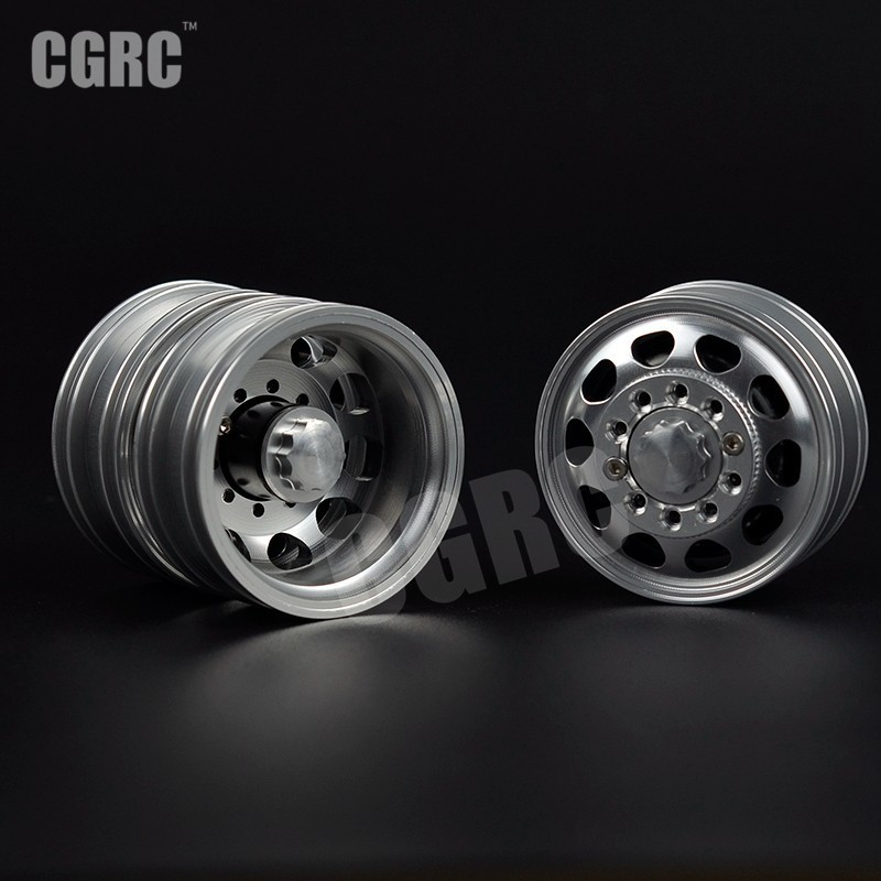 2pcs CNC Metal Alloy Front&Rear Wheel Rim For 1/14 Tamiya Tractor Truck RC Climbing Trailer Cargo Truck Car Component