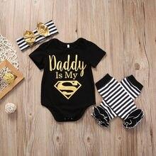 Newborn Baby Boys Girls Clothes Set Top Romper Bodysuits Leg Warmer Bow Headband