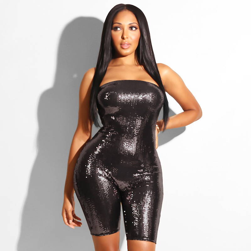 Women Sexy Romper Glitter Bling Strapless Sleeveless Backless Elastic Bodycon Sequin Playsuit Party Clubwear New Short Jumpsuit