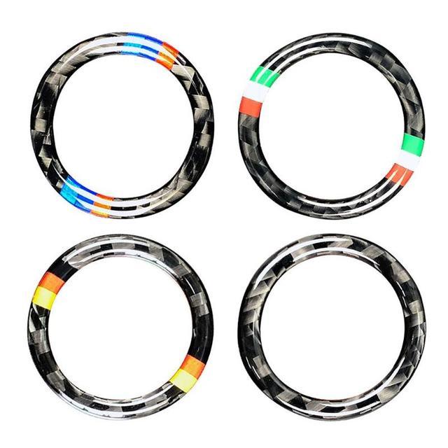 VODOOL 32.5mm OD Carbon Fiber Car Engine Start Stop Button Ring Trim Auto Car Starting Button Decoration For BMW E90 E92 E93
