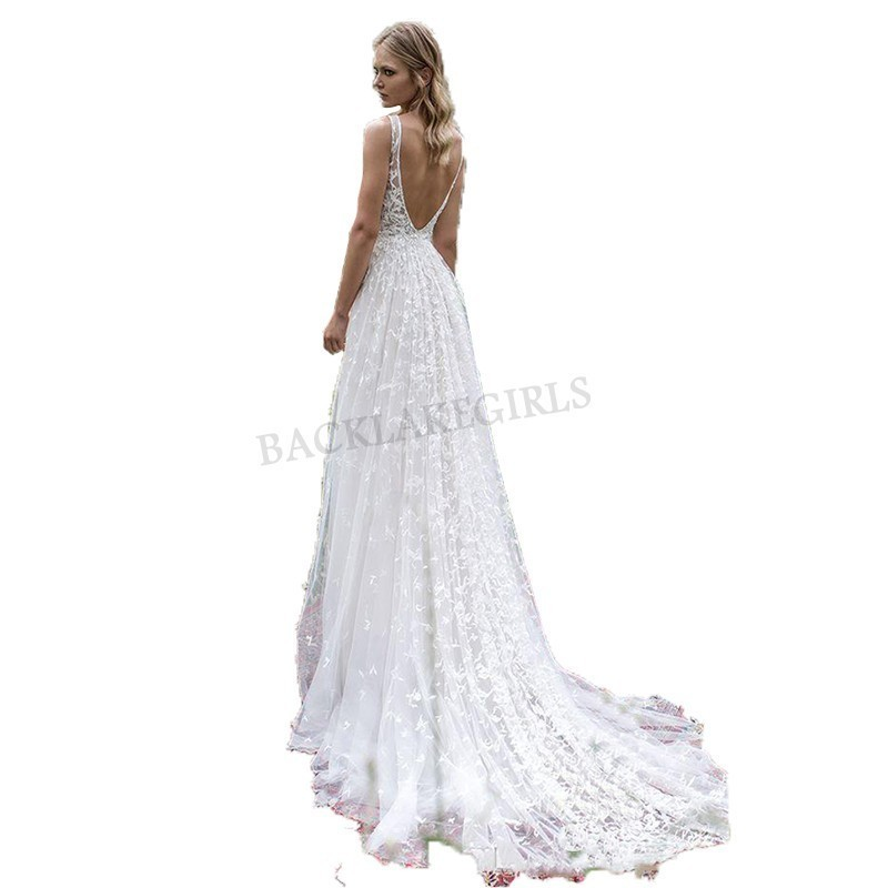 Sexy Vestido De Noiva 2018 Deep-v-neck Moden Wedding Dress Vestido De Novia Playa Custom Made Backless