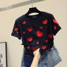 2 2019 夏刺繍愛のハートファッショントップス イン綿半袖tシャツ女性ルース