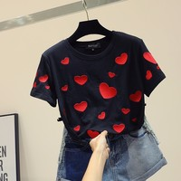 Ins cotton short sleeve t shirt women loose 2019 summer embroidery love heart fashion tops 2colors S,M,L