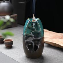 New Backflow Incense Burner Ceramic Aromatherapy Furnace Lotus Smell Aromatic Home Office Incense Crafts Incense Holder backflow incense burner ceramic creative led light lotus crafts decoration home interior viewing ornaments aromatic furnace