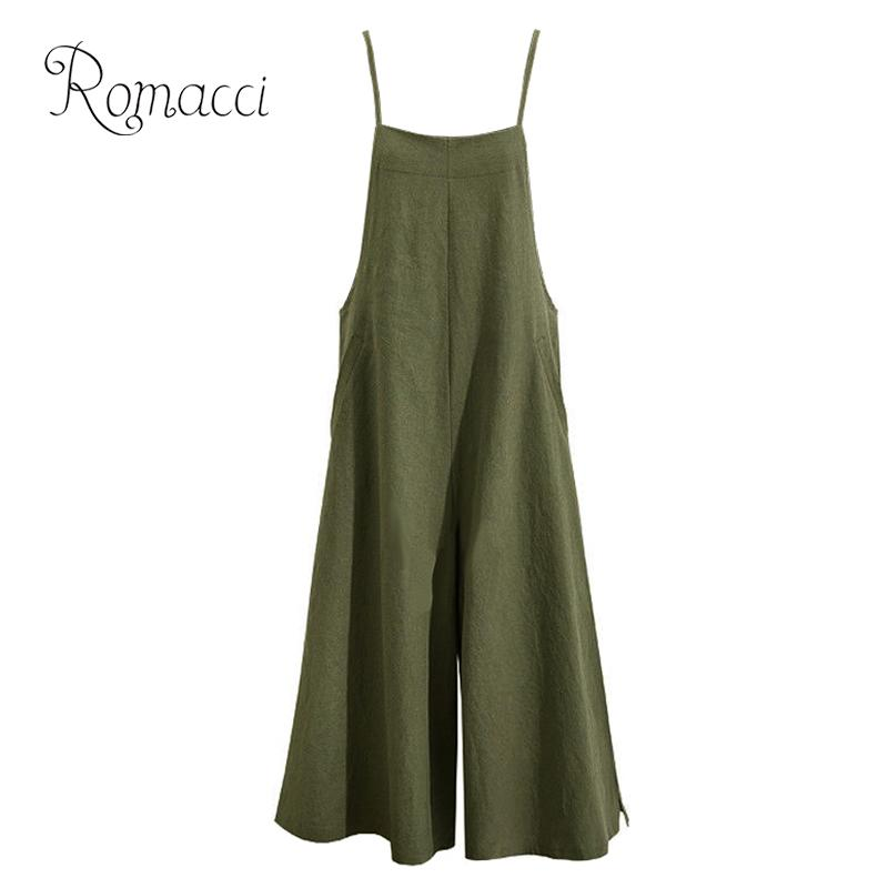 Romacci Rompers Womens   Jumpsuit   2019 Summer Casual Sleeveless Strap Long Playsuit Solid Loose Overalls Plus Size salopette femme