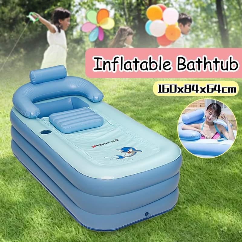 160x84x64 cm PVC Portable pliant grande baignoire gonflable pour enfants adultes bain profiter de la vie pompe à Air Spa ménage baignoire